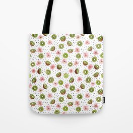 Kiwis with blush pink flowers and black dots watercolor Tote Bag