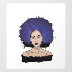 galaxy girl white Art Print