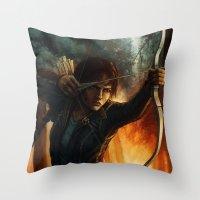 katniss Throw Pillows featuring Katniss Everdeen by Emily Doyle