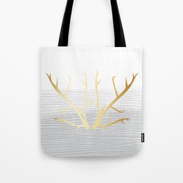 368 6 Gold Antlers on White and Gray Tote Bag