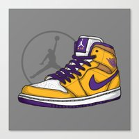 lakers Canvas Prints featuring Jordan 1 mid (LA Lakers) by Pancho the Macho