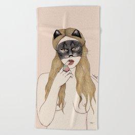 CAT MASK Beach Towel