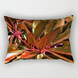 Glossy  Red Leaves Rectangular Pillow