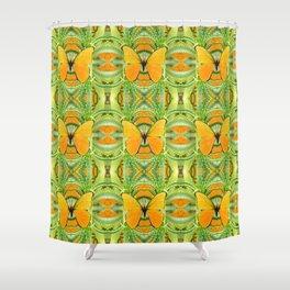 GOLDEN BUTTERFLY GREEN GARDEN ALOE CACTUS PATTERNS, Shower Curtain
