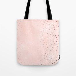 Rose Gold Pastel Pink Foil Paint Line Dots XXIII Tote Bag