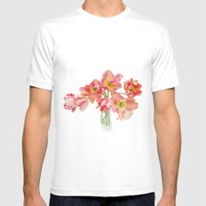 Parrot Tulips in a Glass Vase Mens Fitted Tee White MEDIUM