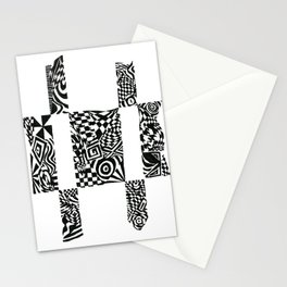 Checkerboard Detail, Black/White Abstract(ink drawing) Stationery Cards