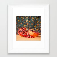 pomegranate Framed Art Prints featuring Pomegranate by Marie Carr