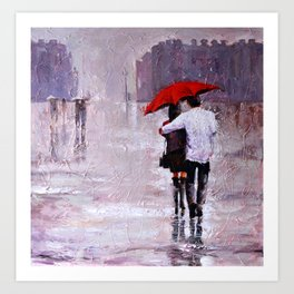 Walk under the rain Art Print