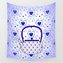 Blue Teapot Wall Tapestry