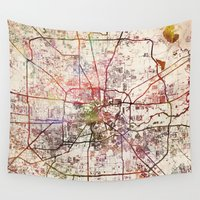 houston Wall Tapestries featuring Houston by MapMapMaps.Watercolors