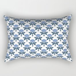 Ajrak Woodblock Floral Print in Blue Rectangular Pillow