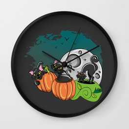 Black Cats and Jack O Lanterns for Halloween Wall Clock
