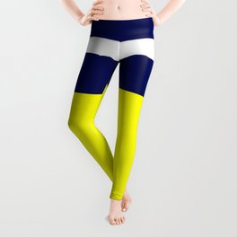 Summer Patio Perfect, Yellow, White & Navy Leggings