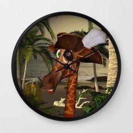 Cute, funny pirate giraffe Wall Clock