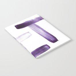 Purple Brush Strokes on White Notebook
