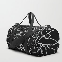 White ink, graphic, black cardboard, nature drawing maple leaves Duffle Bag