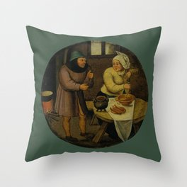 """Pieter Brueghel II (The Younger) """"A woman making sausages"""" Throw Pillow"""