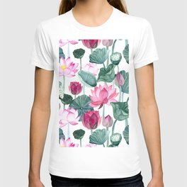 Lotus Lily Pad Watercolor Painting Floral Exotic Asian Style Pattern T-shirt