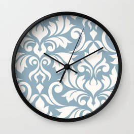 Flourish Damask Art I Cream on Blue Wall Clock