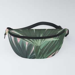 Pink and green palm trees Fanny Pack