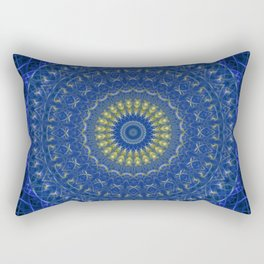 Mandala in dark blue tones with yellow flower Rectangular Pillow