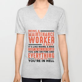 Being a Landscaper Is Easy Shirt Everything On Fire Unisex V-Neck