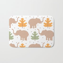 cute pattern background illustration with elephants and tropical exotic leaves Bath Mat