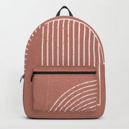 Abstract Geometric Nesting Lines Rainbow Boho Mid century Modern Minimalist Organic Shape Pastel Earth Tones Peach Pink Colors Backpack