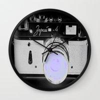 vintage camera Wall Clocks featuring VinTage CaMera Black & White + Lavender by 2sweet4words Designs