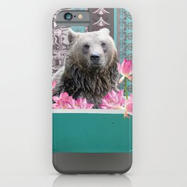 Brown big big bear turquoise bathtub lotos flowers iPhone Case