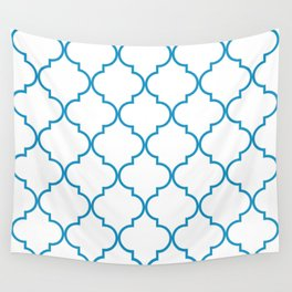 Quatrefoil - Cerulean on White Wall Tapestry