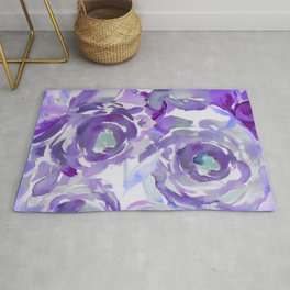 Purple Haze Painterly Floral Abstract Rug