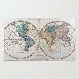 Vintage Map of The World (1760) Rug