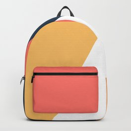 Orange & navy blue geometric art Backpack
