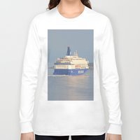 copenhagen Long Sleeve T-shirts featuring Copenhagen To Oslo Ferry by Malcolm Snook