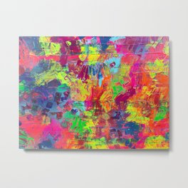 Colorful Abstract Relief Impaso Textured Painting - Detail after my artwork Dischromy 10 Metal Print
