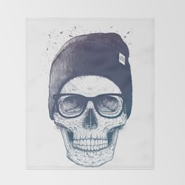Color skull in a hat Throw Blanket