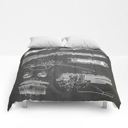 Automatic Rifle Patent - Browning Rifle Art - Black Chalkboard Comforters