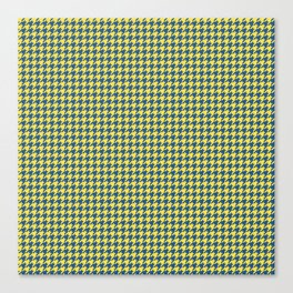 Yellow Blue Houndstooth Pattern Canvas Print