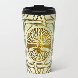 Golden Tree of life  -Yggdrasil on vintage paper Travel Mug