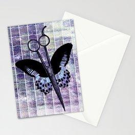 hair stylist scissors shears butterfly grunge purple Stationery Cards