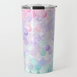 Cute Mermaid Pattern, Light Pink, Purple, Teal Travel Mug