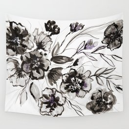 Ink Flowers Wall Tapestry