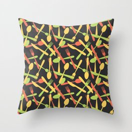 Cutlery kitchen silverware colored Throw Pillow