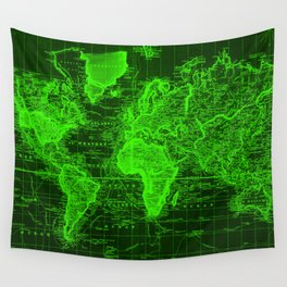 Vintage Map of The World (1833) Black & Green  Wall Tapestry