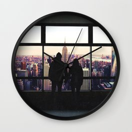 New York City Views-Couple and the Skyline Wall Clock
