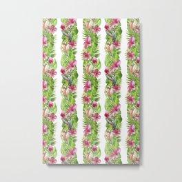 Luscious Tropical Plants In Stripes Metal Print