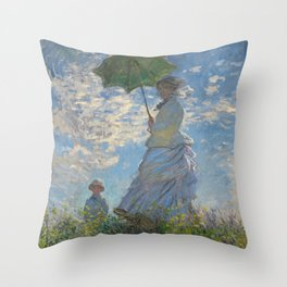 The Walk, Woman with a Parasol by Claude Monet Throw Pillow