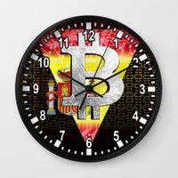 spain Wall Clocks featuring bitcoin spain by seb mcnulty
